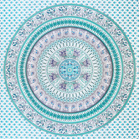 Turqouise Mandala Throw Sheet Tapestry Bedding Blanket Queensize Wall Hanging Bedspread