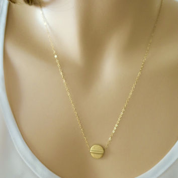 Gold Disc Necklace, Circle Everyday Necklace, Dainty 14k Gold Filled Necklace, Simple, Karma, Minimal Jewelry Gift by  just1gold