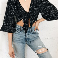 Polka Tie Top - Black