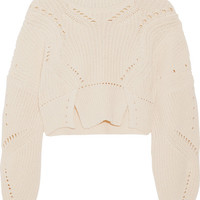 Isabel Marant - Gane cropped pointelle-trimmed cotton and wool-blend sweater