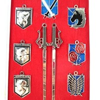 E-Mell Attack on Titan Cosplay Scout Regiment Necklace and KeyChain 1st Set (Gray)
