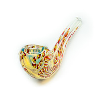 Multi-Colored Glass Sherlock Pipe - Handblown - 4 Inches