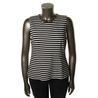Lauren Ralph Lauren Womens Striped Sleeveless Knit Top
