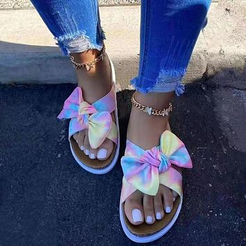 New beach sandals with bowknot slippers, plus size leopard print color sandals