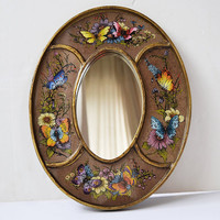 oval mirror, mirror with butterflies, vintage mirror, wooden mirror, decorative mirror, butterflies decoration,