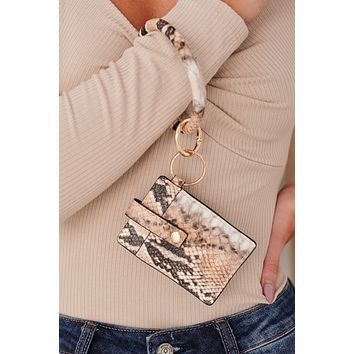 Southern Routes Snakeskin Card Holder Keychain (Beige)