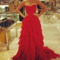 Red wine chiffon long  Sweetheart  Prom Dresses, Formal evening pageant  ball gown Dresses, Graduation Dresses ,Custom made  2014