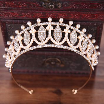 Luxurious Gold Crystal Queen Wedding Crown Tiara Bridal Hair Accessories Cosplay