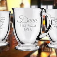 ELEVEN Personalized Custom Etched Glass Mug Coffee Mug Etched Glass Engraved Glass Mug Glassware Tea
