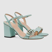 GUCCI Women's mid-heel sandal with Double G