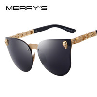 MERRY'S Fashion Women Gothic Sunglasses Men Skull Frame Metal Temple Sunglasses Oculos de sol UV400