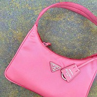 PRADA 2020 New Nylon Retro Hobo-Underarm Bag-Leisure-Crescent Crossbody Bag Pink