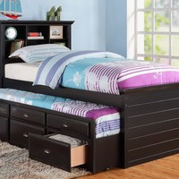 Black Bookcase Twin Bed with Trundle and Mattress