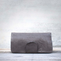 Repurposed Gray Leather Wallet/ Leather Wallet / Women Wallet / Coin Purse / Leather Pouch / Leather Leather Phone Wallet