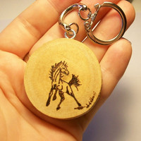 Wood Burned Mustang Keychains - Pyrography