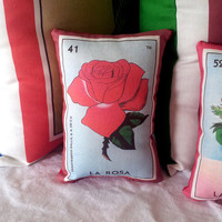 Rosa Rose Mexican Loteria Mini Pillow with Lavender, Tuck Pillow or Bowl Filler - Christmas / Dia De Los Muertos / Day of the