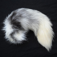 "14""-16"" Platinum Real Fox Fur Tail Totem Keychain Key Ring Key Fob for Purse, Anime Costume, Etc"