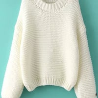 White Long Sleeve Knit Sweater