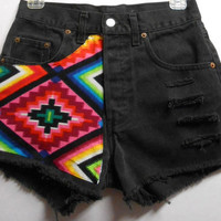 Vintage  High Waist  Denim Shorts Aztec Print ---Waist  27    inches