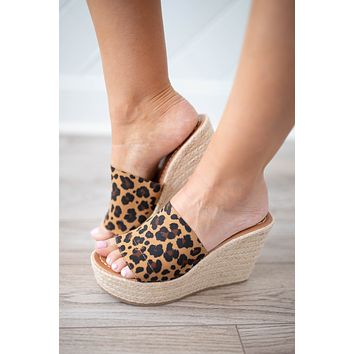 Stand Tall Leopard Espadrille Wedge