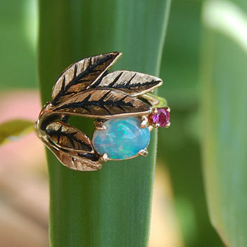 Antique Leaf 14K Yellow Gold White Fire Opal and Ruby Ring