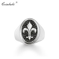 Striking Ring Fluer-de-lis Lily,2018 Brand New High Quality 925 Sterling Silver & Zirconia Pave Fashion Jewelry Gift For Men
