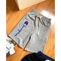 Champion Tide brand embroidery letters for men and women cotton shorts grey