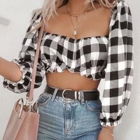 Sexy Plaid Crop Women Tops Three Quarter Sleeve Elegant Blouses Vintage Square Collar Elastic Shirt Casual Streetwear