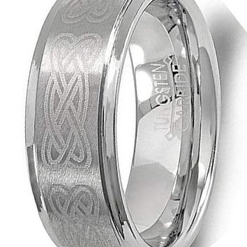 CERTIFIED 8MM Tungsten Carbide Unisex Celtic Ridged Edges Laser Wedding Band