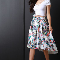Watercolor Floral A-Line High-Low Skirt