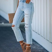 2020 new women's slim fit ripped jeans trousers