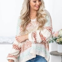 Fiesta Knit Cream & Color Block Sweater