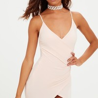 Petite Nude Slinky Wrap Dress