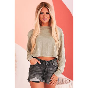 Gone For The Weekend Long Sleeve Crop Top (Acid Smoke Olive)