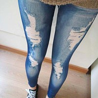 2017 NEW Arrival Fashion Women Leggings Slim Faux Denim Look Jeans Jeggings Stretchy Pants High Quality