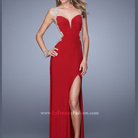 Sweetheart Floor Length With High Slit La Femme Prom Dress 21024