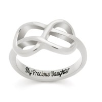 """Infinity Ring For Daughter, Double Infinity Purity Ring """"My Precious Daughter"""""""