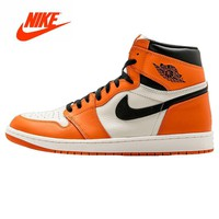 Original New  Nike Air Jordan 1 Retro High OG AJ1 White Orange White Rebound Men's Basketball Shoes Sneakers 555088-113
