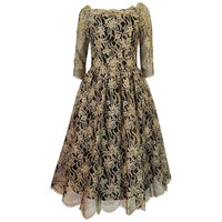 1950s Jacques Heim French Gold Lace on Black Net Dress