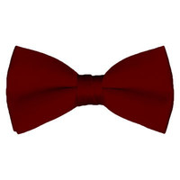Solid Pre-Tied Burgundy Bow Tie