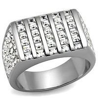 Mens Fashion Rings TK2219 Stainless Steel Ring with Top Grade Crystal