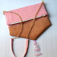 AURIGA 1 crossbody foldover handbag - Genuine suede leather with handmade beadworking for fabric and tassel.