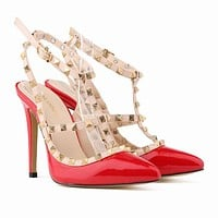 Women Fashion Rivets Shallow Mouth Pointed Sandals Heels Shoes