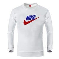 NIKE autumn and winter trend casual sports head round neck cotton sweater White