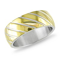 Diagonal Line Design Band with Gold Plating Ring in Stainless Steel