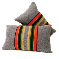 Red Stripe Pendleton Wool Accent Pillow by BranchandBirdie on Etsy