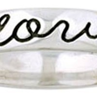 Bob Siemon Sterling Silver True Love Waits Script and Heart Ring