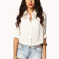 FOREVER 21 Fun In The Sun Embroidered Cut-Offs Light Denim