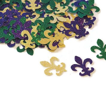 Mardi Gras party Fleur de Lis confetti, purple, gold, green, glitter, New Orleans, French Quarter, Fat Tuesday, 100 pieces