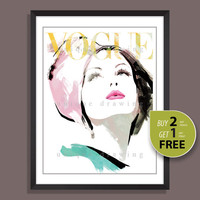 Fashion Print, Fashion Illustration, fashion wall art, Vogue print, Vogue poster, Vogue cover, Vogue wall art, Vogue magazine, 60s, 3241